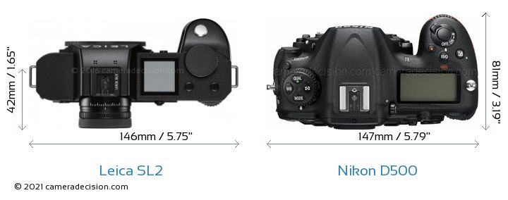Leica SL2 vs Nikon D500 Camera Size Comparison - Top View