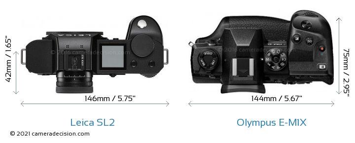 Leica SL2 vs Olympus E-M1X Camera Size Comparison - Top View