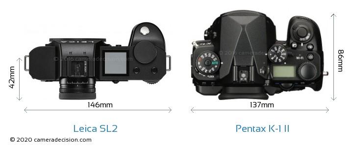 Leica SL2 vs Pentax K-1 II Camera Size Comparison - Top View