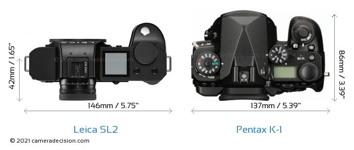 Leica SL2 vs Pentax K-1 Camera Size Comparison - Top View