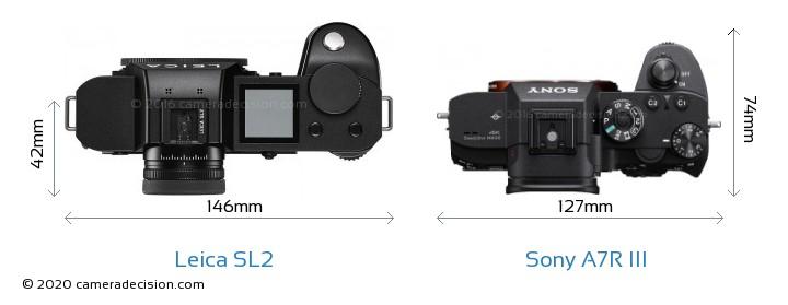 Leica SL2 vs Sony A7R III Camera Size Comparison - Top View