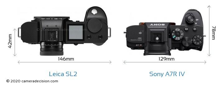 Leica SL2 vs Sony A7R IV Camera Size Comparison - Top View