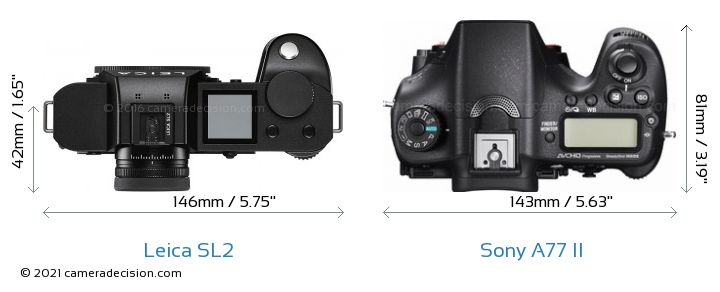 Leica SL2 vs Sony A77 II Camera Size Comparison - Top View