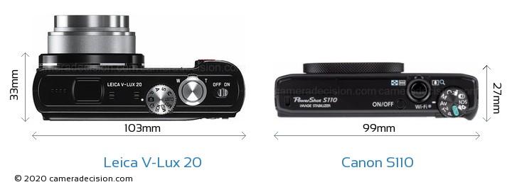 Leica V-Lux 20 vs Canon S110 Camera Size Comparison - Top View