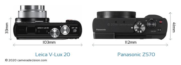 Leica V-Lux 20 vs Panasonic ZS70 Camera Size Comparison - Top View