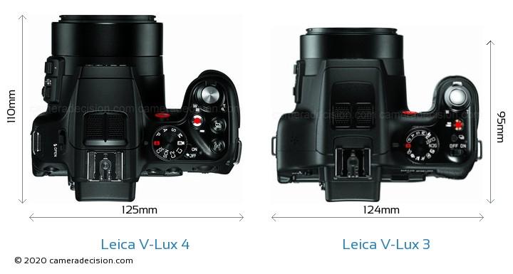 Leica V-Lux 4 vs Leica V-Lux 3 Camera Size Comparison - Top View