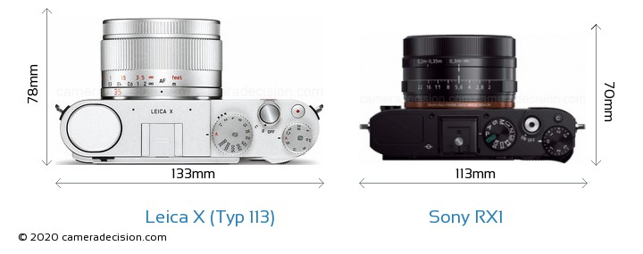 Leica X (Typ 113) vs Sony RX1 Camera Size Comparison - Top View