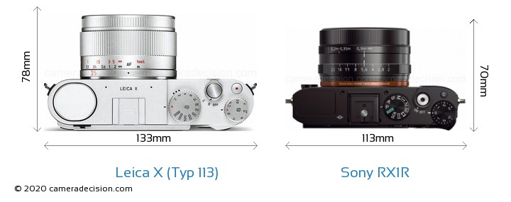 Leica X (Typ 113) vs Sony RX1R Camera Size Comparison - Top View