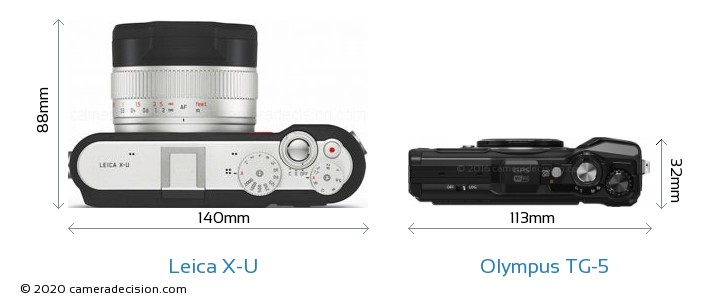 Leica X-U vs Olympus TG-5 Camera Size Comparison - Top View
