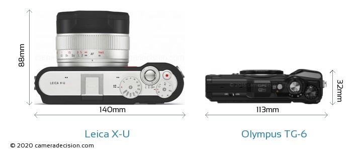 Leica X-U vs Olympus TG-6 Camera Size Comparison - Top View