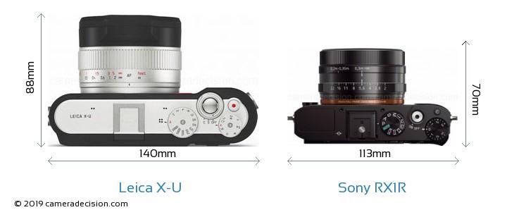 Leica X-U vs Sony RX1R Camera Size Comparison - Top View