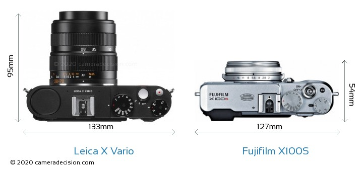 Leica X Vario vs Fujifilm X100S Camera Size Comparison - Top View