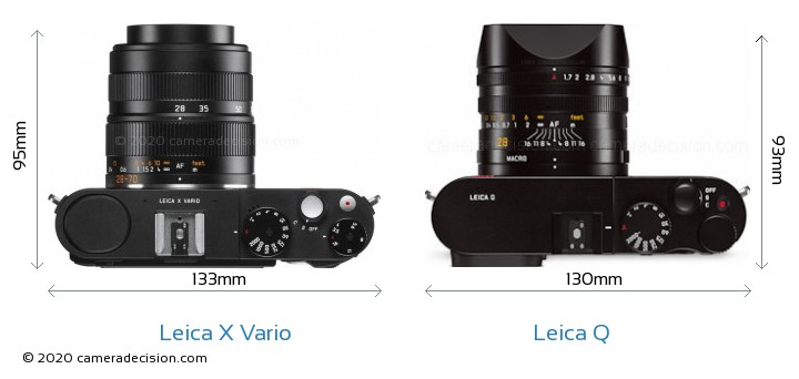 Leica X Vario vs Leica Q Camera Size Comparison - Top View