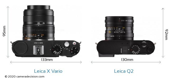 Leica X Vario vs Leica Q2 Camera Size Comparison - Top View