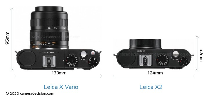 Leica X Vario vs Leica X2 Camera Size Comparison - Top View