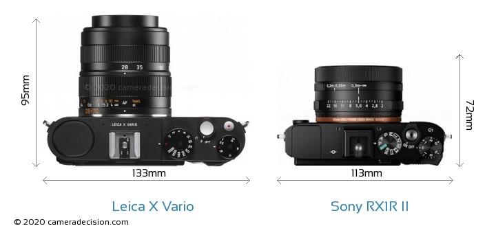 Leica X Vario vs Sony RX1R II Camera Size Comparison - Top View