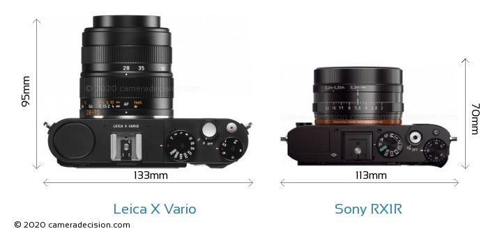 Leica X Vario vs Sony RX1R Camera Size Comparison - Top View