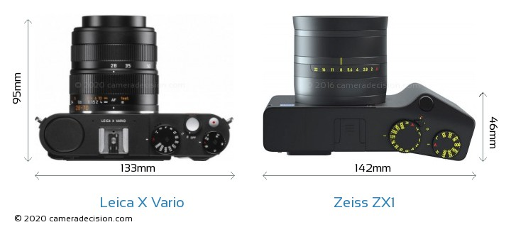 Leica X Vario vs Zeiss ZX1 Camera Size Comparison - Top View