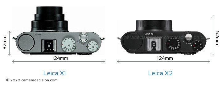 Leica X1 vs Leica X2 Camera Size Comparison - Top View