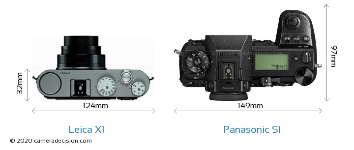 Leica X1 vs Panasonic S1 Camera Size Comparison - Top View