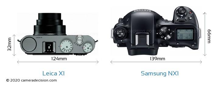 Leica X1 vs Samsung NX1 Camera Size Comparison - Top View