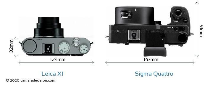 Leica X1 vs Sigma Quattro Camera Size Comparison - Top View