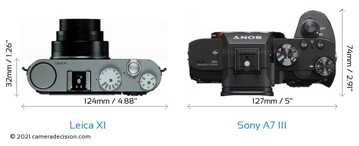 Leica X1 vs Sony A7 III Camera Size Comparison - Top View