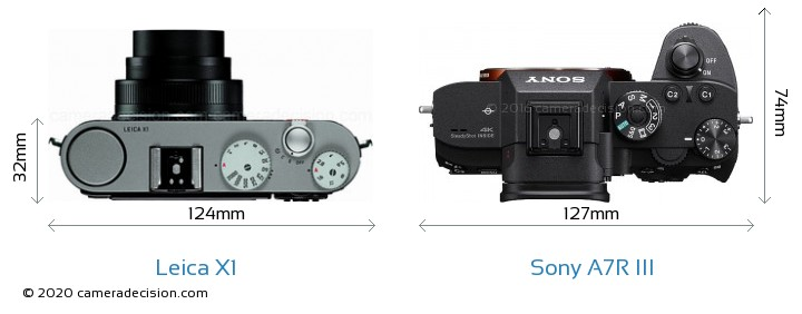 Leica X1 vs Sony A7R III Camera Size Comparison - Top View