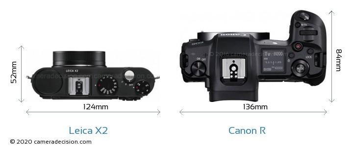 Leica X2 vs Canon R Camera Size Comparison - Top View