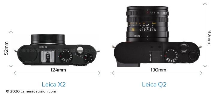 Leica X2 vs Leica Q2 Camera Size Comparison - Top View