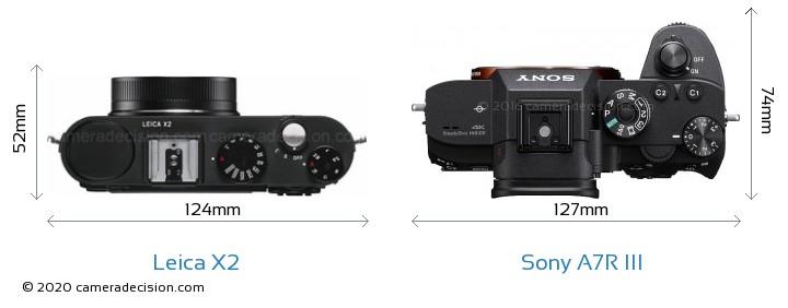 Leica X2 vs Sony A7R III Camera Size Comparison - Top View