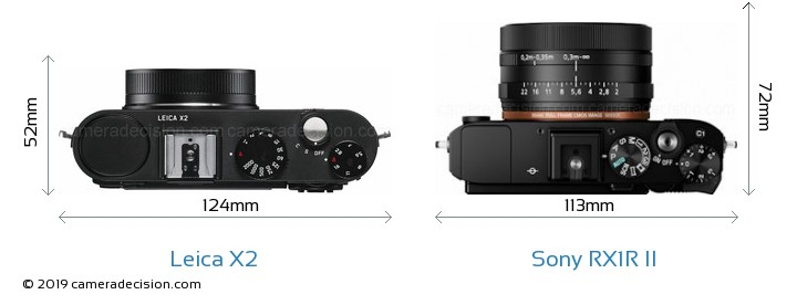 Leica X2 vs Sony RX1R II Camera Size Comparison - Top View