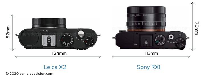 Leica X2 vs Sony RX1 Camera Size Comparison - Top View