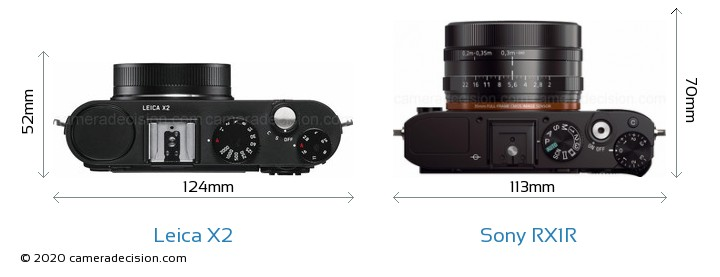 Leica X2 vs Sony RX1R Camera Size Comparison - Top View