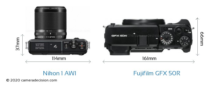 Nikon 1 AW1 vs Fujifilm GFX 50R Camera Size Comparison - Top View