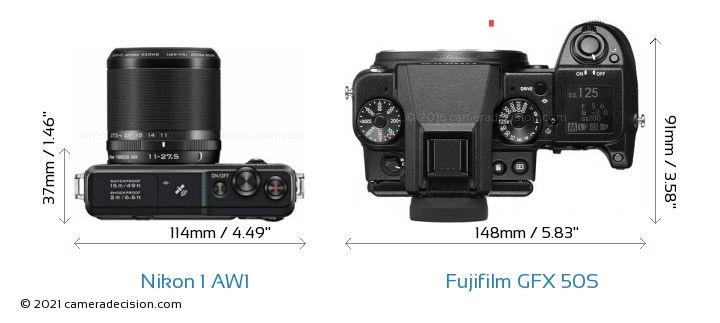 Nikon 1 AW1 vs Fujifilm GFX 50S Camera Size Comparison - Top View