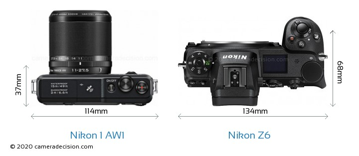 Nikon 1 AW1 vs Nikon Z6 Camera Size Comparison - Top View