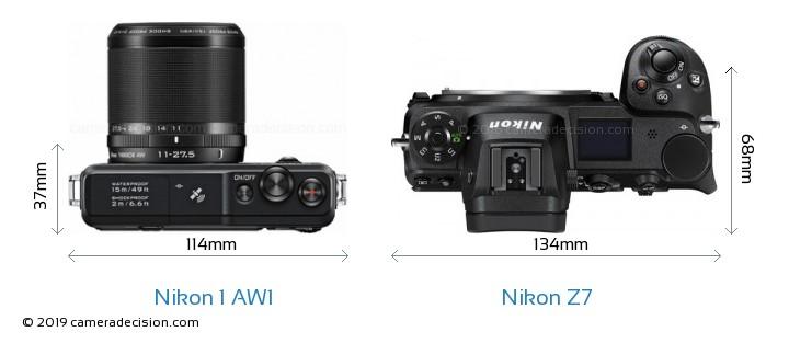 Nikon 1 AW1 vs Nikon Z7 Camera Size Comparison - Top View