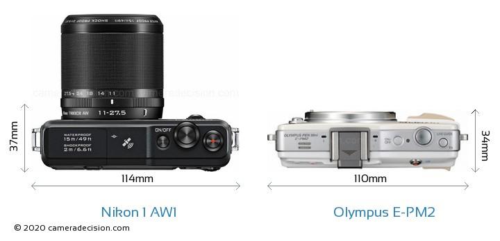 Nikon 1 AW1 vs Olympus E-PM2 Camera Size Comparison - Top View