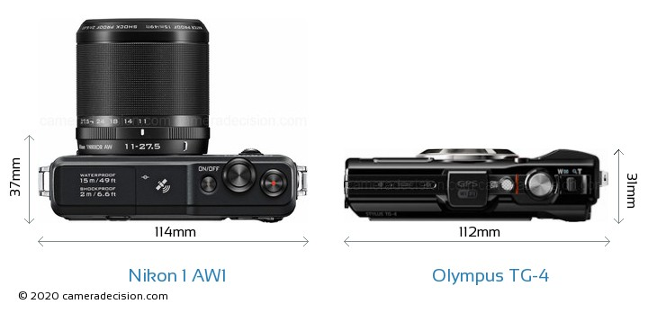 Nikon 1 AW1 vs Olympus TG-4 Camera Size Comparison - Top View