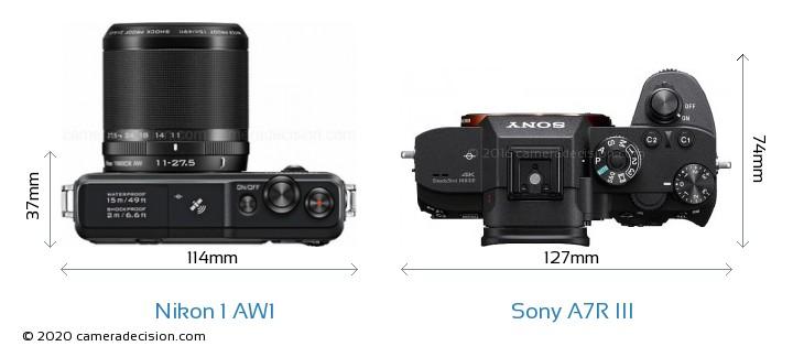 Nikon 1 AW1 vs Sony A7R III Camera Size Comparison - Top View
