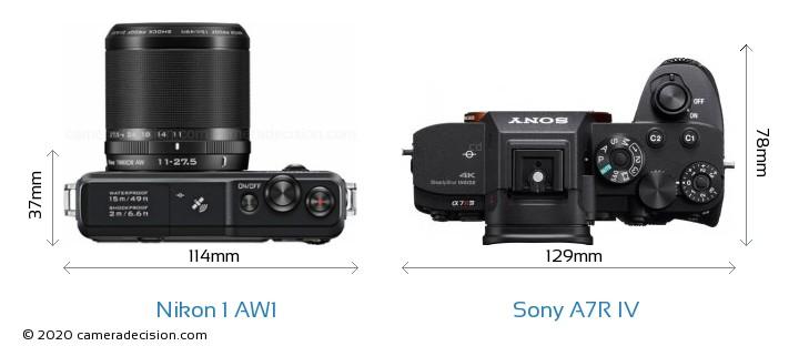 Nikon 1 AW1 vs Sony A7R IV Camera Size Comparison - Top View