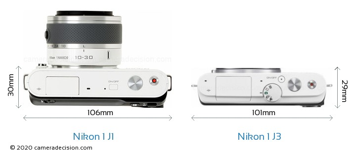 Nikon 1 J1 vs Nikon 1 J3 Camera Size Comparison - Top View