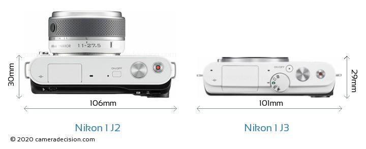Nikon 1 J2 vs Nikon 1 J3 Camera Size Comparison - Top View