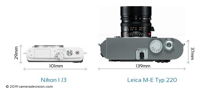 Nikon 1 J3 vs Leica M-E Typ 220 Camera Size Comparison - Top View