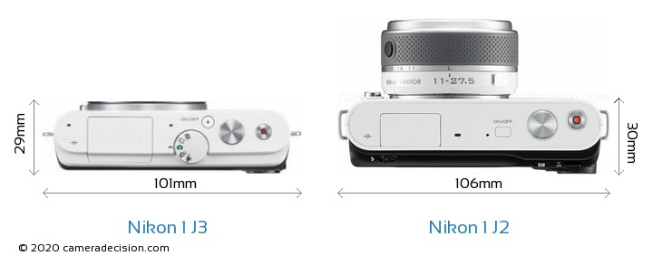 Nikon 1 J3 vs Nikon 1 J2 Camera Size Comparison - Top View