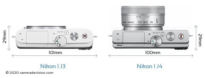 Nikon 1 J3 vs Nikon 1 J4 Camera Size Comparison - Top View