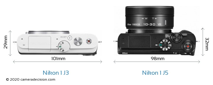 Nikon 1 J3 vs Nikon 1 J5 Camera Size Comparison - Top View