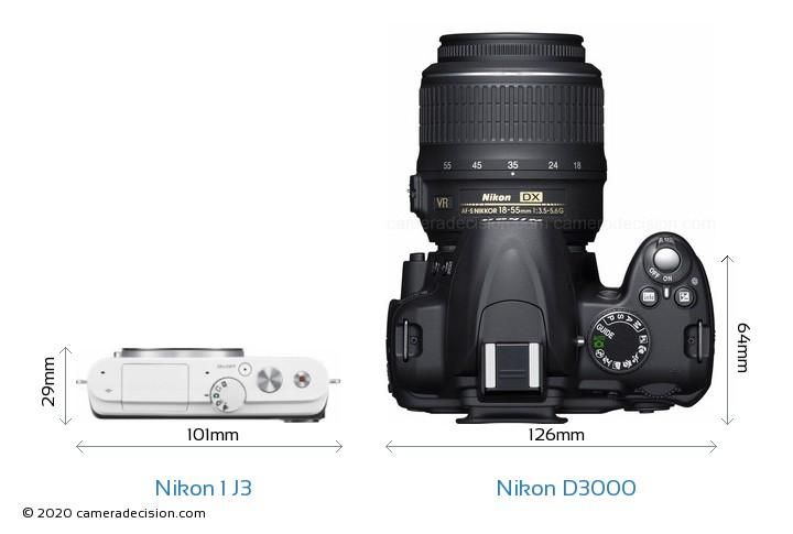 Nikon 1 J3 vs Nikon D3000 Camera Size Comparison - Top View