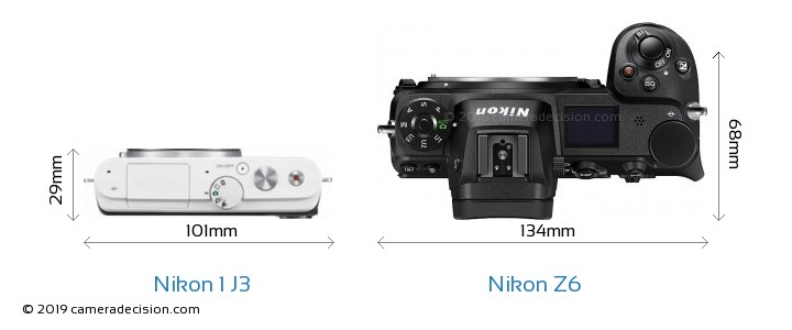Nikon 1 J3 vs Nikon Z6 Camera Size Comparison - Top View